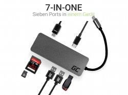 Dockingstation, adapter, HUB USB-C HDMI-adapter Green Cell - 7 poorten voor MacBook Pro, Dell XPS, Lenovo X1 Carbon en andere