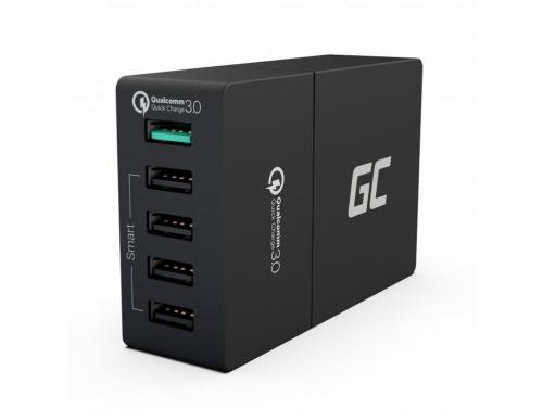 Universele oplader Green Cell ® met snellaadfunctie, 5 USB-poorten, QC 3.0