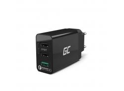Universele oplader Green Cell ® met snellaadfunctie 3 USB-poorten, QC 3.0