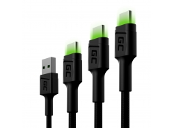 Set 3x Green Cell GC Ray USB-C-kabel 30cm, 120cm, 200cm met groene LED-achtergrondverlichting, snel opladen UC, QC 3.0