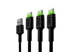 Set 3x Green Cell GC Ray USB-C 200cm kabel met groene LED-achtergrondverlichting, snel opladen Ultra Charge, QC 3.0