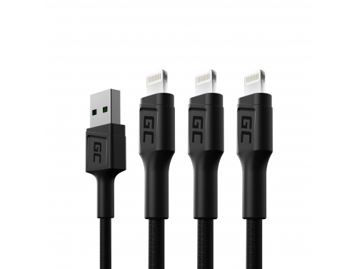 Set 3x Green Cell GC Ray USB Kabel - Lightning 120cm voor iPhone, iPad, iPod, witte LED, snel opladen