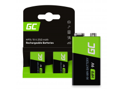 Green Cell Batterij 2x 9V HF9 Ni-MH 250mAh