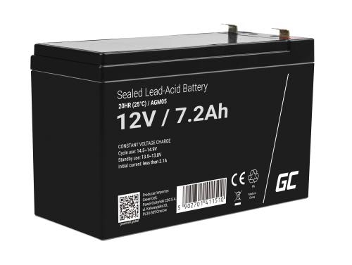 Green Cell® AGM 12V 7.2Ah VRLA batterij Accu voedingsaccu speelgoed voor kinderen Alarmsystemen