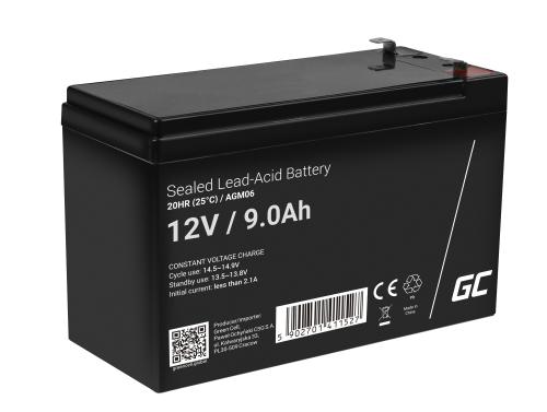Green Cell® AGM 12V 9Ah VRLA batterij Accu voedingsaccu UPS geluidsinstallaties energiereserve Back-UPS