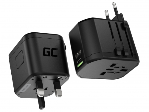 Green Cell GC TripCharge PRO universele adapter met USB-A UC en USB-C PD 18W-poorten