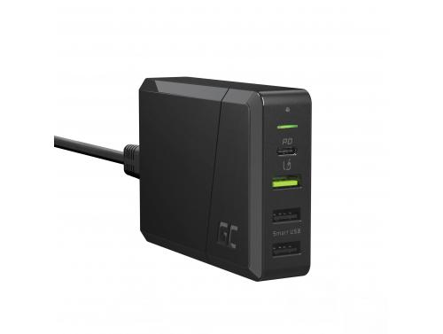 Green Cell stroombron 75 W 4-poorts oplader met USB-C PD voor het opladen van Ultrabooks en Ultra Charge-technologie