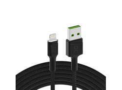 Kabel Green Cell Ray USB-A - Lightning White LED 120cm met ondersteuning voor Apple 2.4A snel opladen