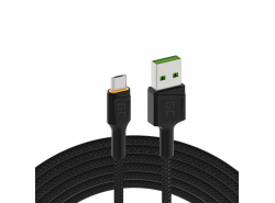 Kabel Green Cell Ray USB-A - microUSB oranje LED 120cm met ondersteuning voor Ultra Charge QC3.0 snel opladen