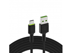 Kabel Green Cell Ray USB-A - USB-C Groene LED 120cm met ondersteuning voor Ultra Charge QC3.0 snel opladen