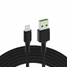 Kabel Green Cell Ray USB-A - Lightning LED 200cm met ondersteuning voor Apple 2.4A snel opladen