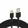 Green Cell GC Ray USB-kabel - USB-C 200cm, groene LED, Ultra Charge snel opladen, QC 3.0